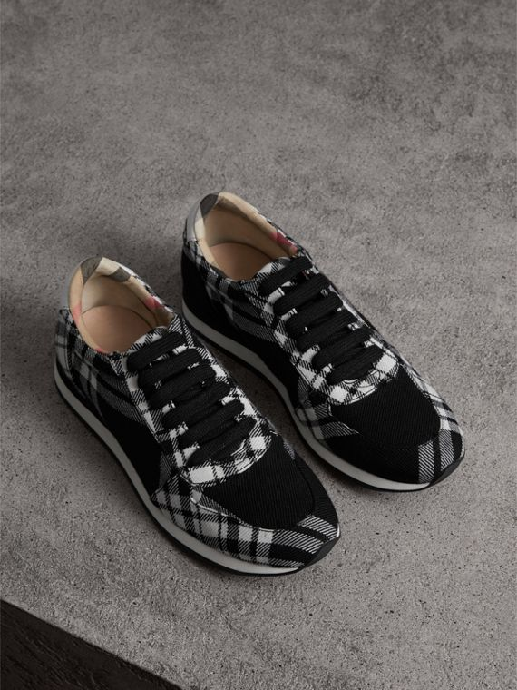 Tartan Wool Trainers in Black