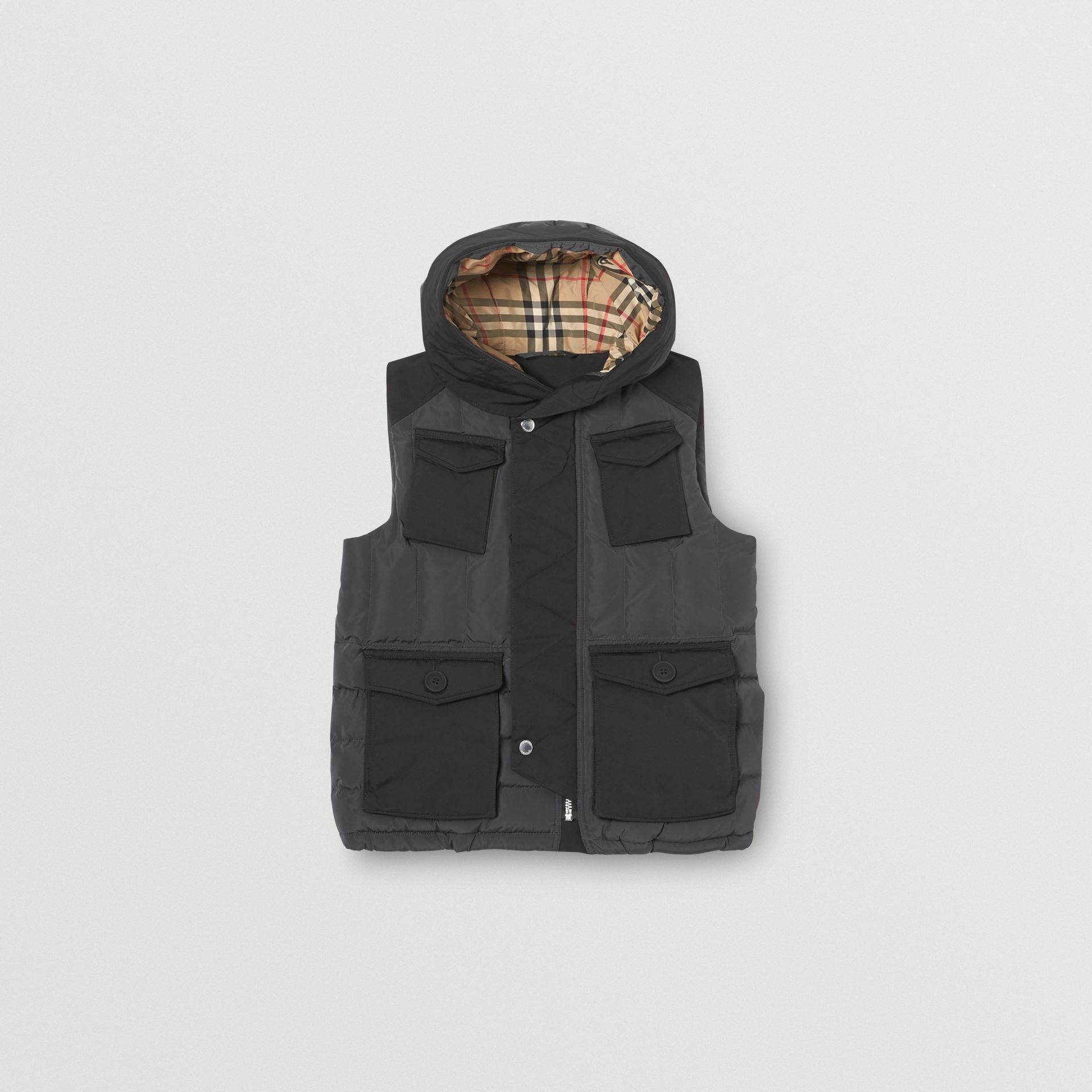 Down-filled Hooded Puffer Gilet in Dark Charcoal | Burberry Singapore - gallery image 0