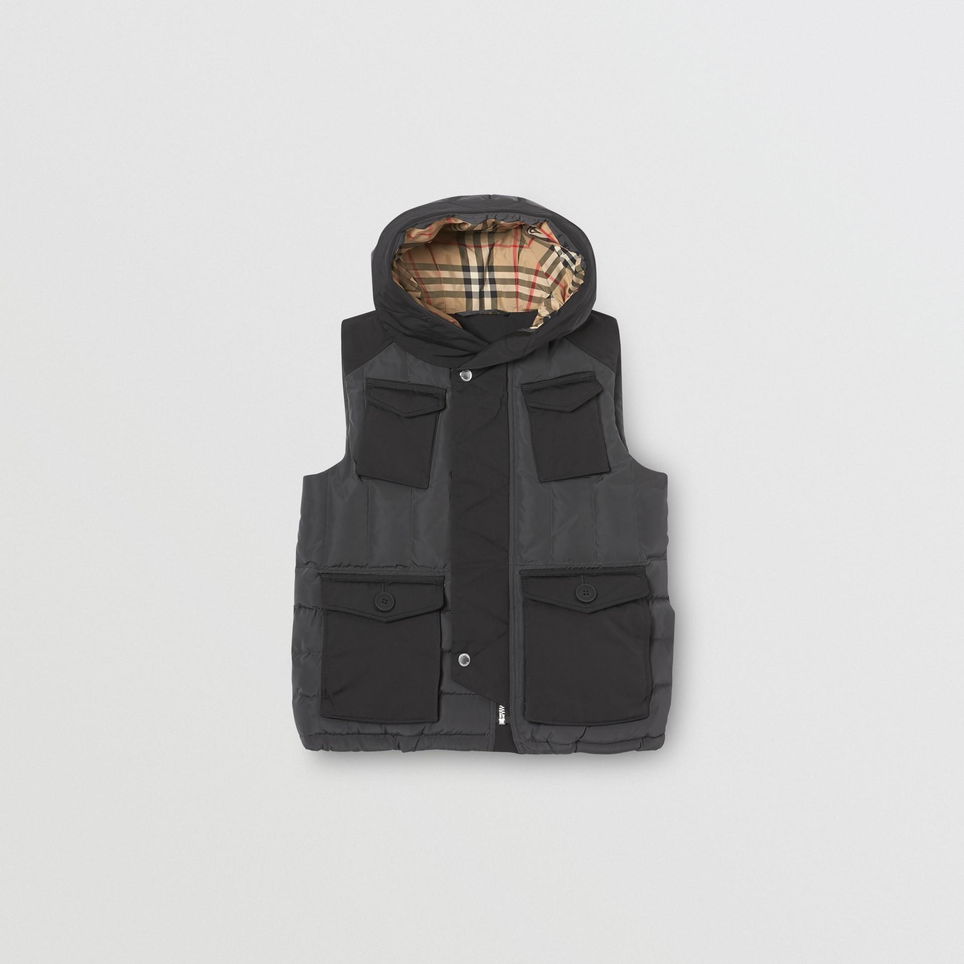 Дутый жилет с капюшоном (Темный Древесный Уголь) | Burberry - изображение 0