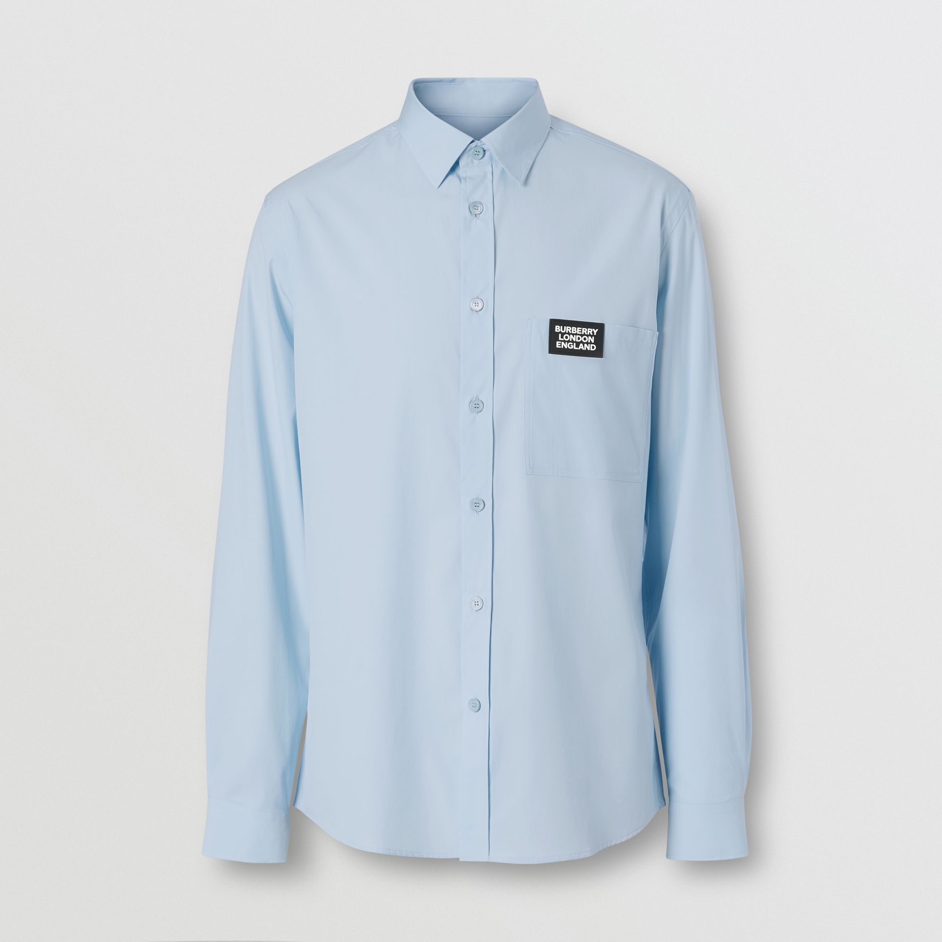 Logo Detail Stretch Cotton Poplin Shirt in Pale Blue - Men | Burberry - gallery image 3