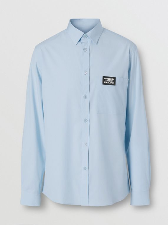 Logo Detail Stretch Cotton Poplin Shirt in Pale Blue
