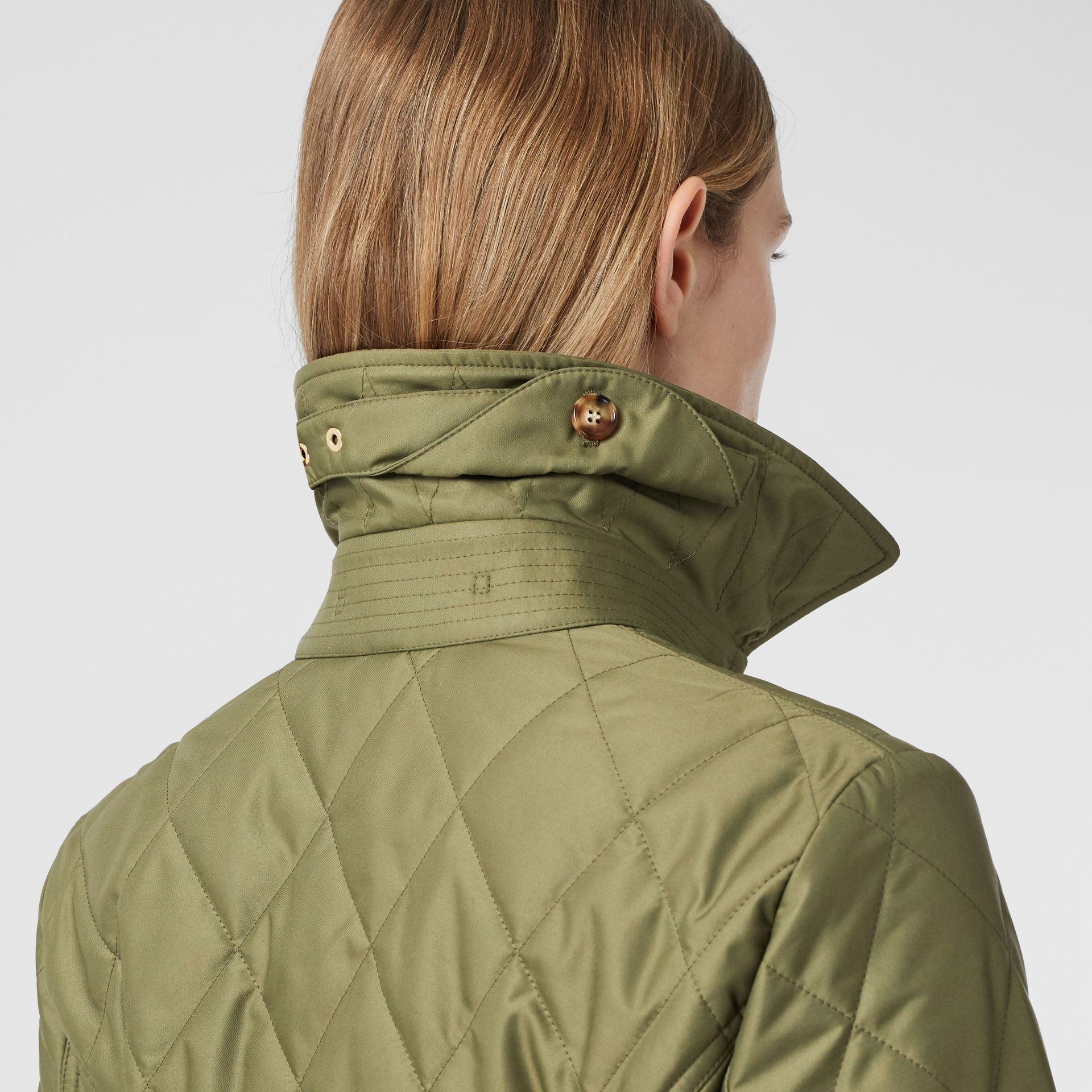 Diamond Quilted Thermoregulated Jacket in Olive Green - Women | Burberry - gallery image 4