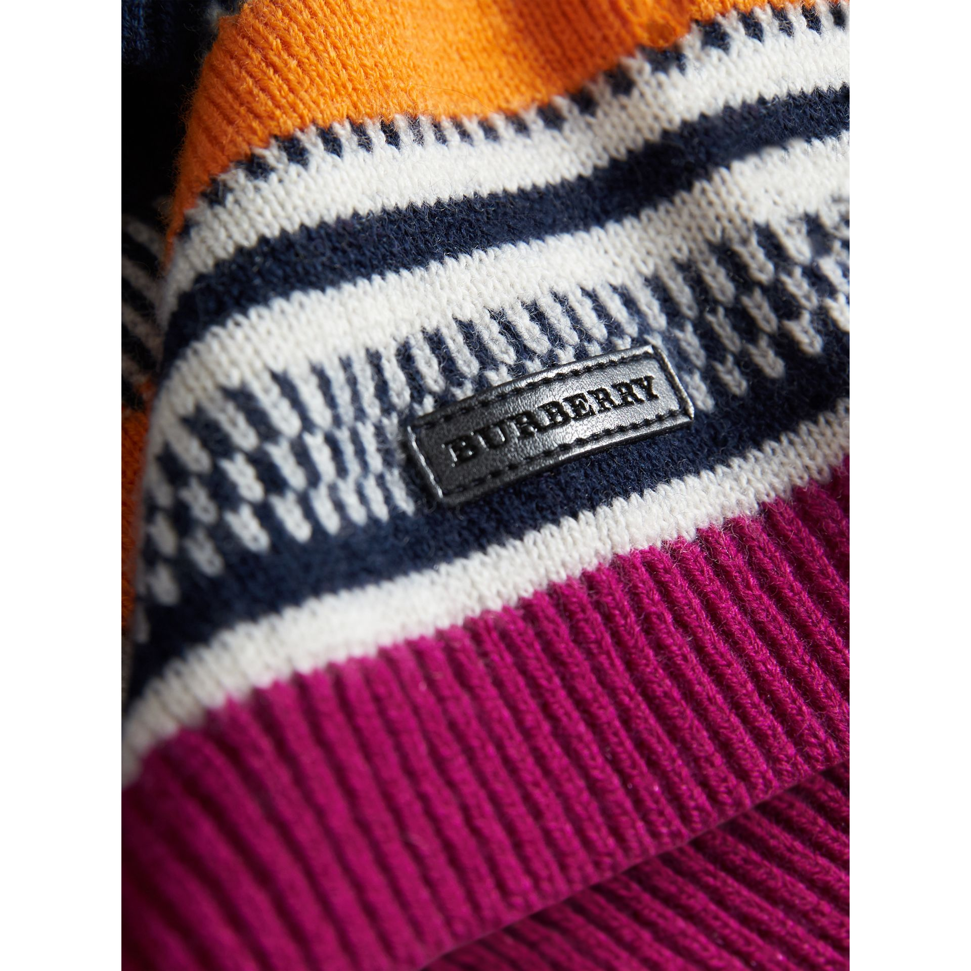 Fair Isle Wool Cashmere Sweater Dress in Bright Pink | Burberry - gallery image 1