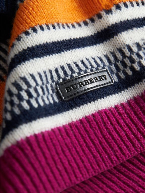 Fair Isle Wool Cashmere Sweater Dress in Bright Pink | Burberry United Kingdom - cell image 1