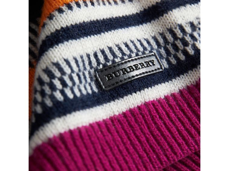 Fair Isle Wool Cashmere Sweater Dress in Bright Pink | Burberry - cell image 1