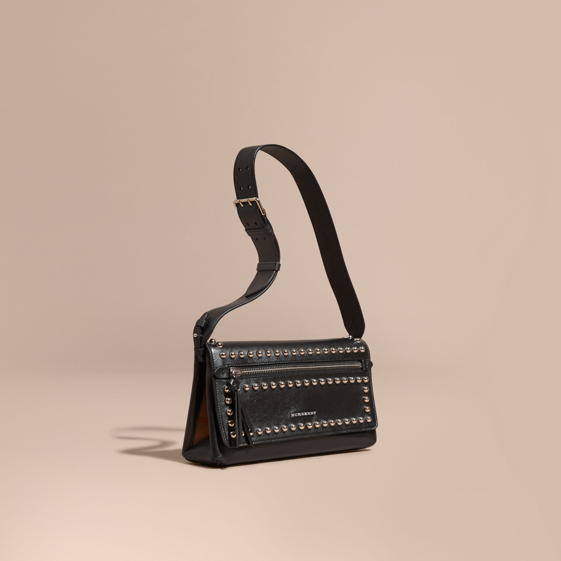 Black Smooth Leather Clutch Bag with Stud Detail - gallery image 1