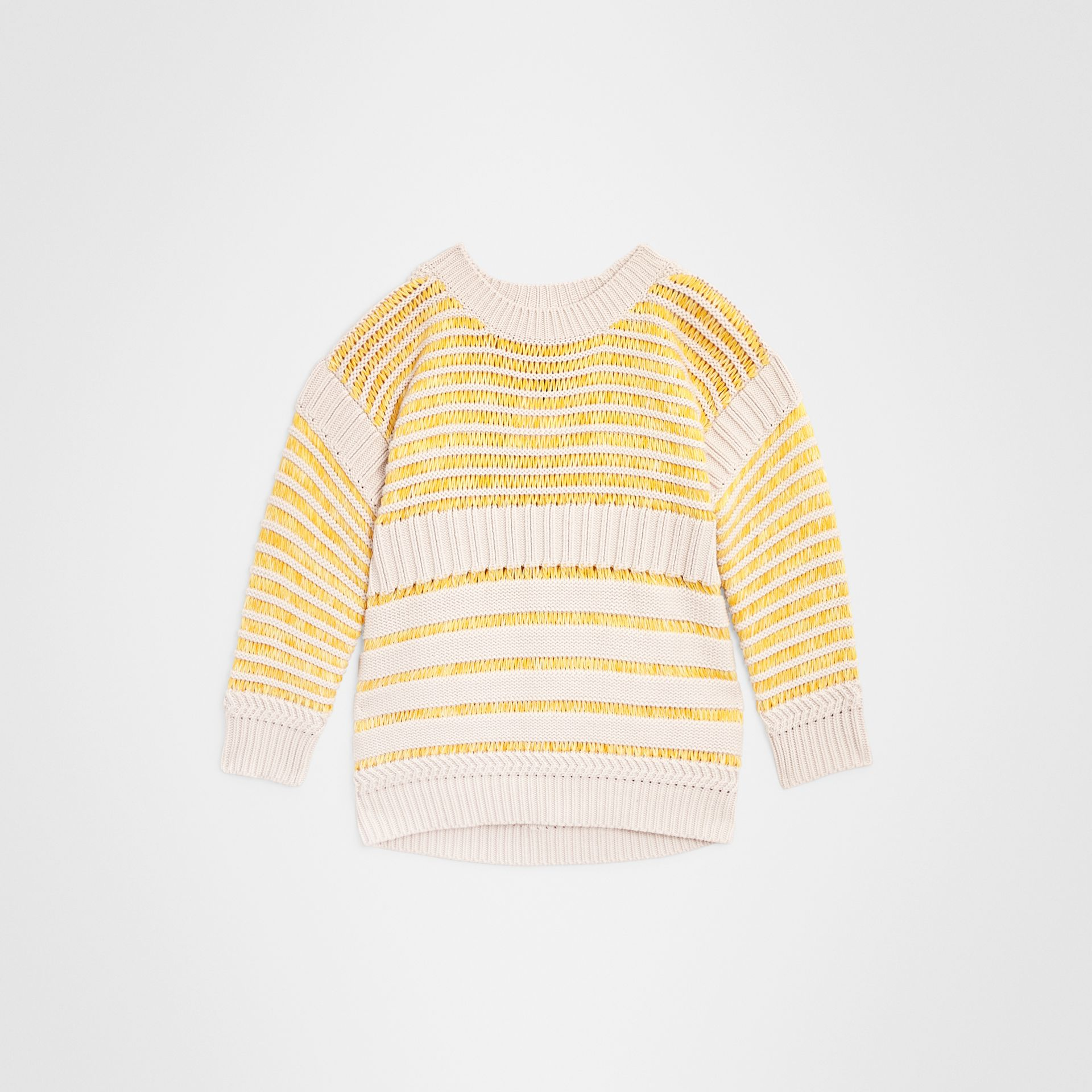 Rib Knit Cotton Sweater in Bright Yellow | Burberry United Kingdom - gallery image 0