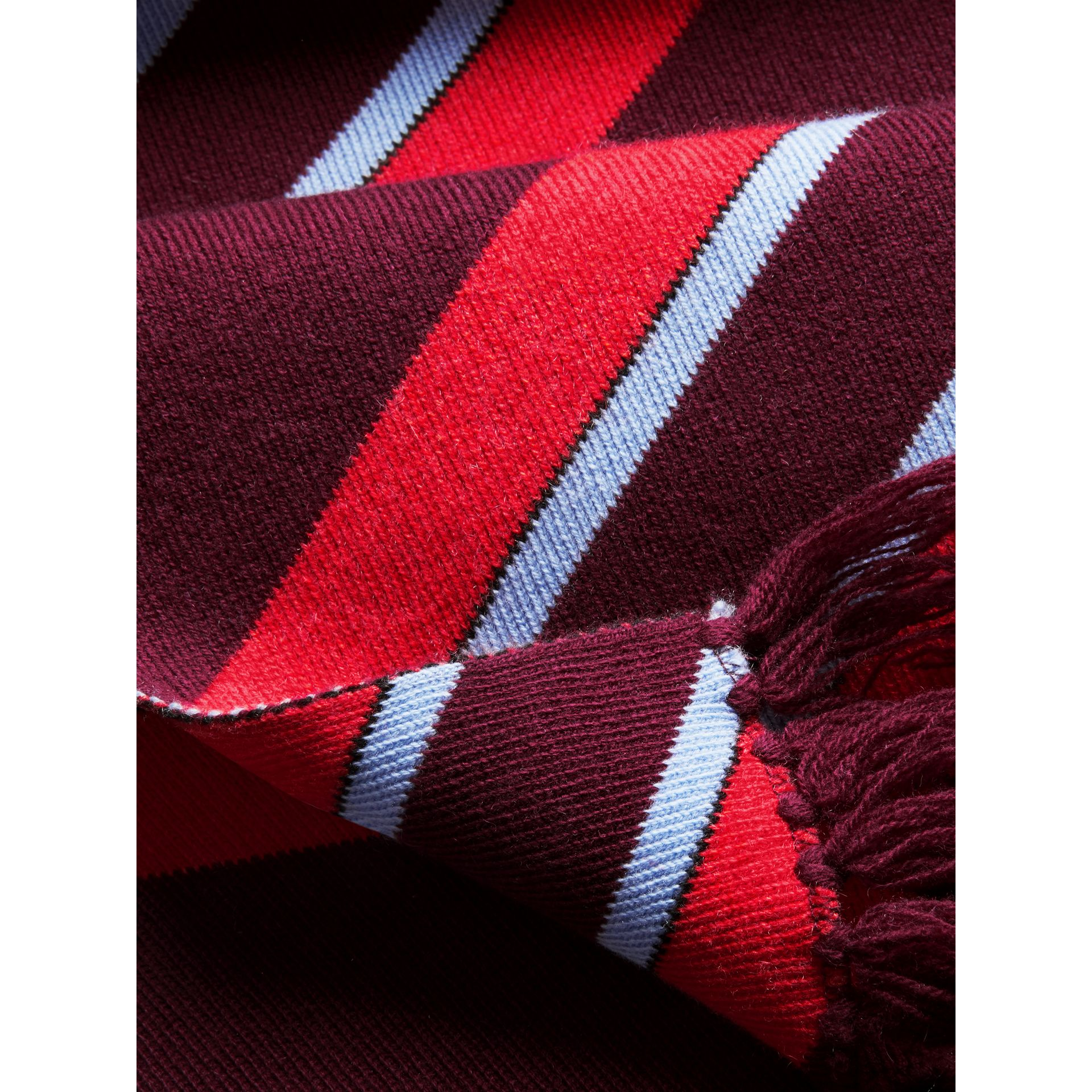 Tri-tone Striped Wool Cashmere Scarf in Burgundy | Burberry Canada - gallery image 1