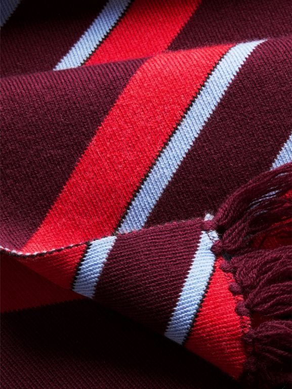 Tri-tone Striped Wool Cashmere Scarf in Burgundy | Burberry Canada - cell image 1