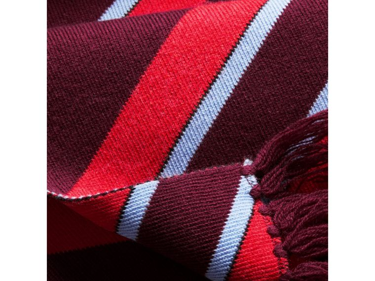 Tri-tone Striped Wool Cashmere Scarf in Burgundy | Burberry - cell image 1