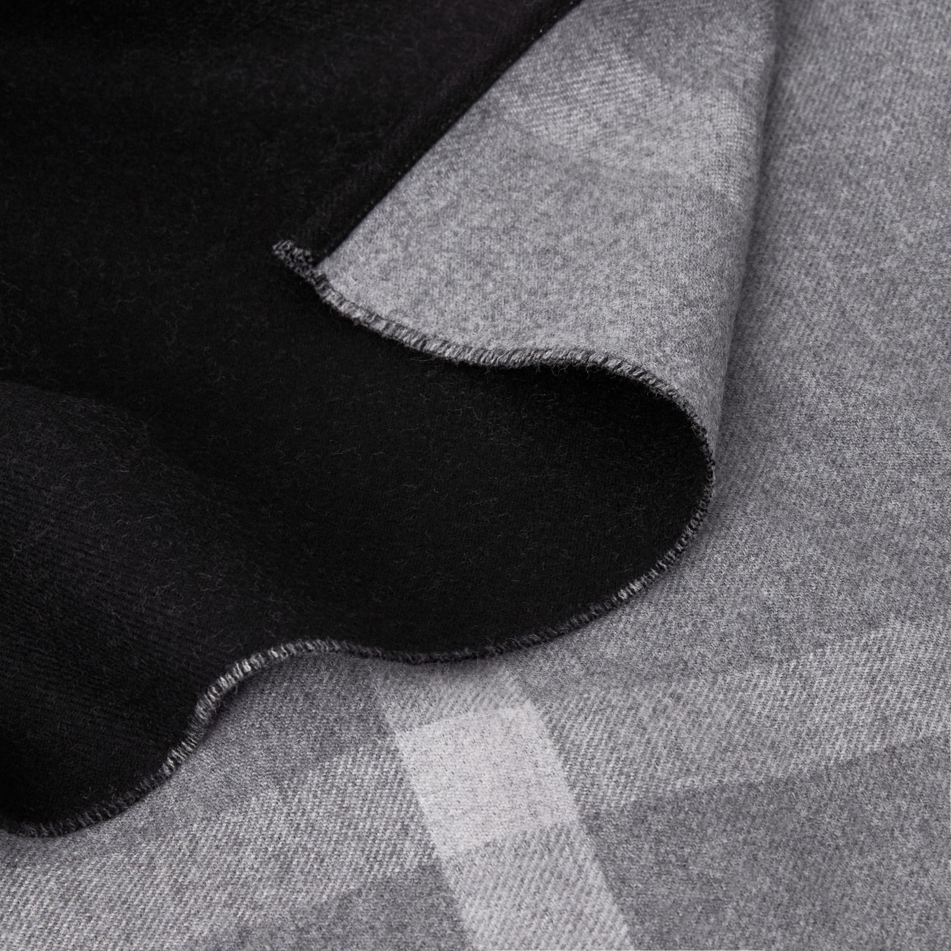 Reversible Check Merino Wool Poncho in Charcoal - Women | Burberry - gallery image 1