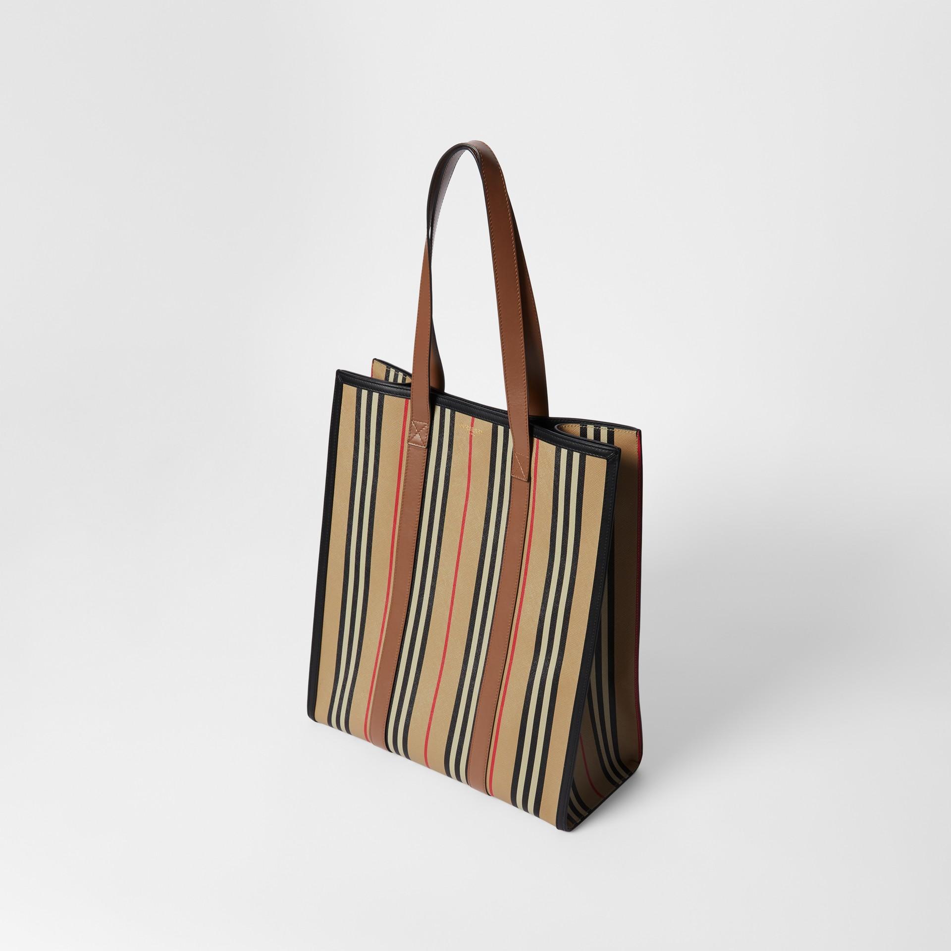 Icon Stripe E-canvas Portrait Tote Bag in Archive Beige | Burberry Canada - gallery image 3