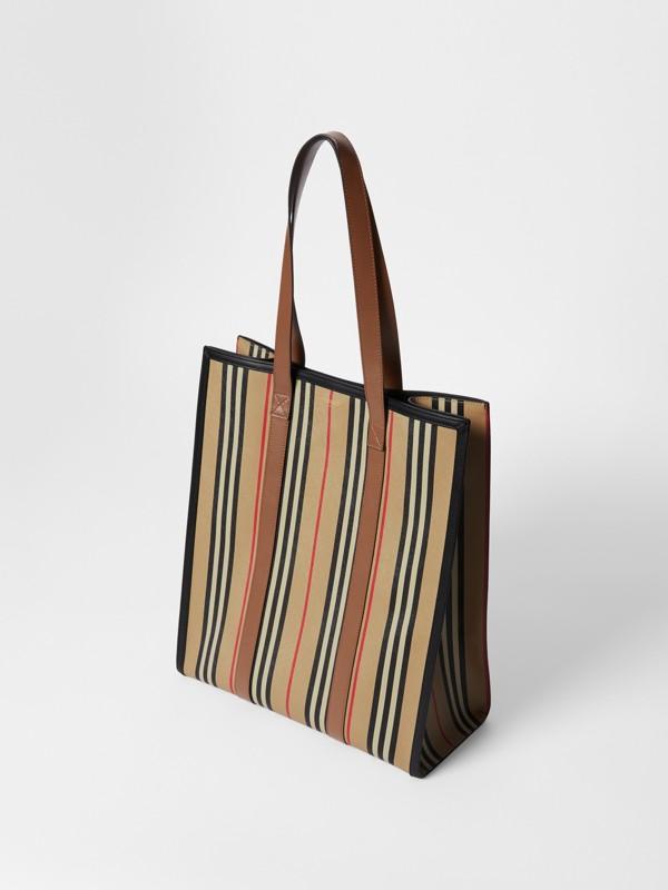Icon Stripe E-canvas Portrait Tote Bag in Archive Beige | Burberry Canada - cell image 3