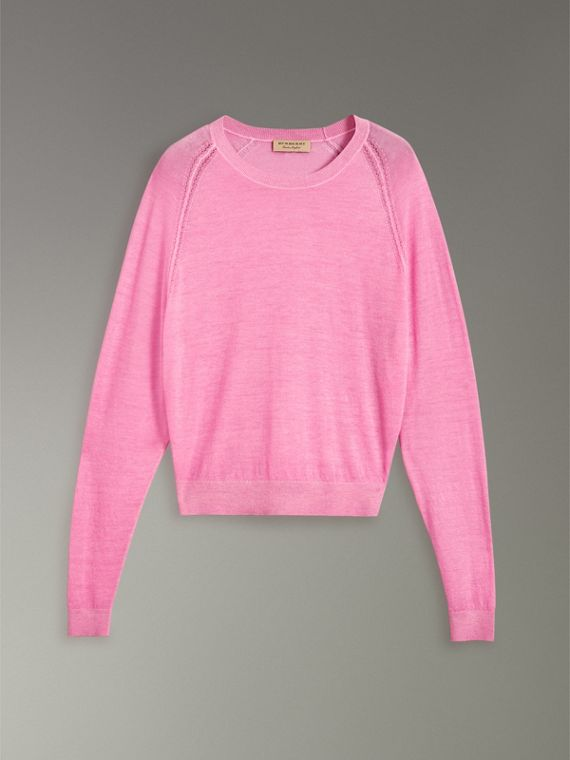 Open-stitch Detail Cashmere Sweater in Dusky Pink - Women | Burberry - cell image 3
