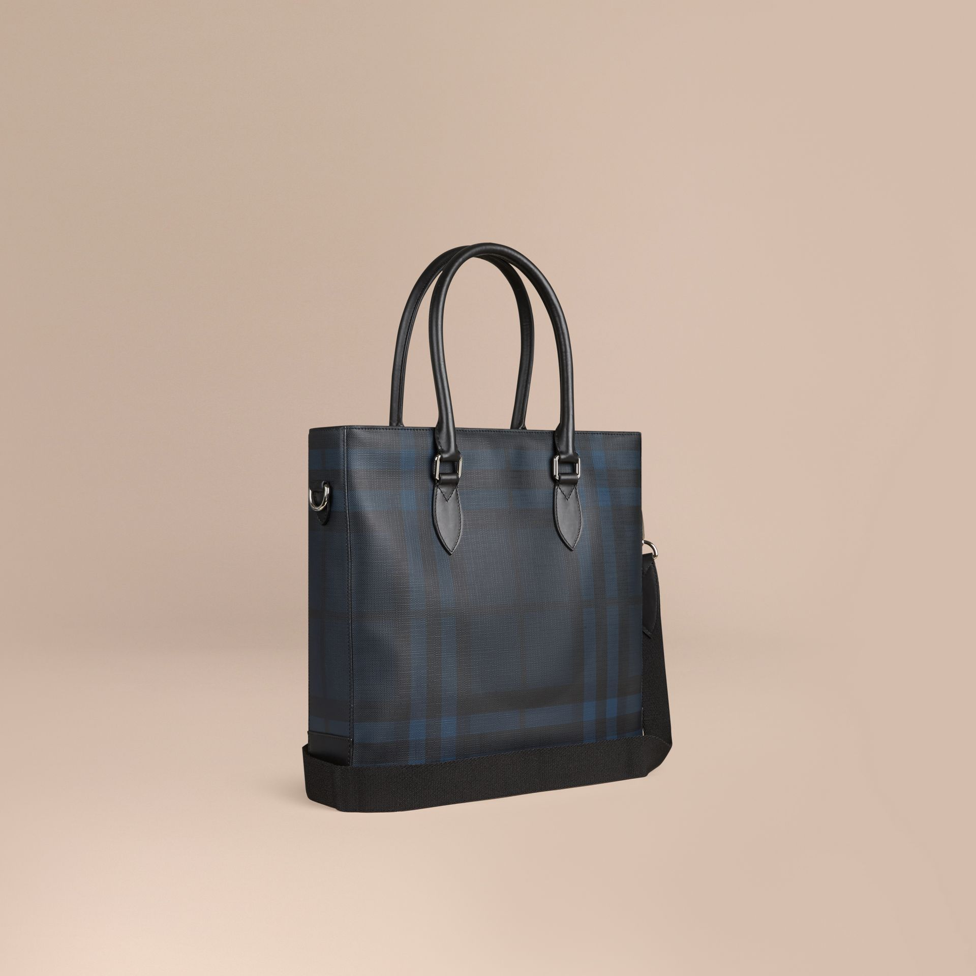 London Check Tote Bag in Navy/black - Men | Burberry Canada - gallery image 1