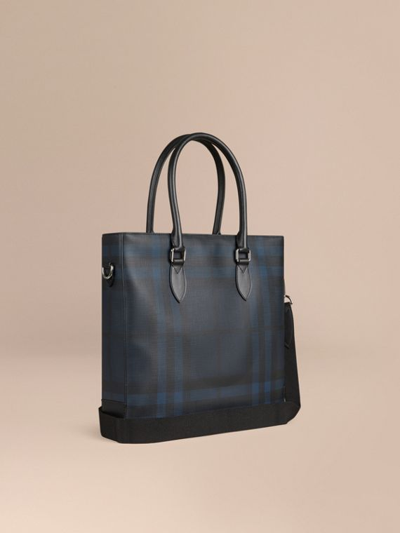 London Check Tote Bag in Navy/black - Men | Burberry Australia