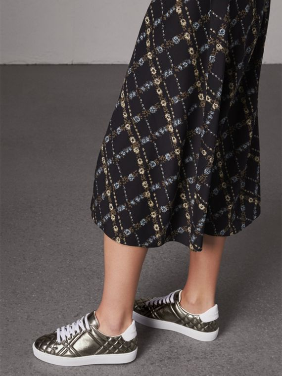 Metallic Check-quilted Leather Trainers in Dark Nickel - Women | Burberry - cell image 2