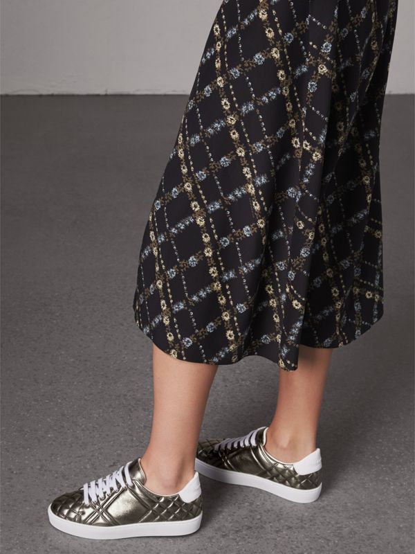 Metallic Check-quilted Leather Sneakers in Dark Nickel - Women | Burberry - cell image 2