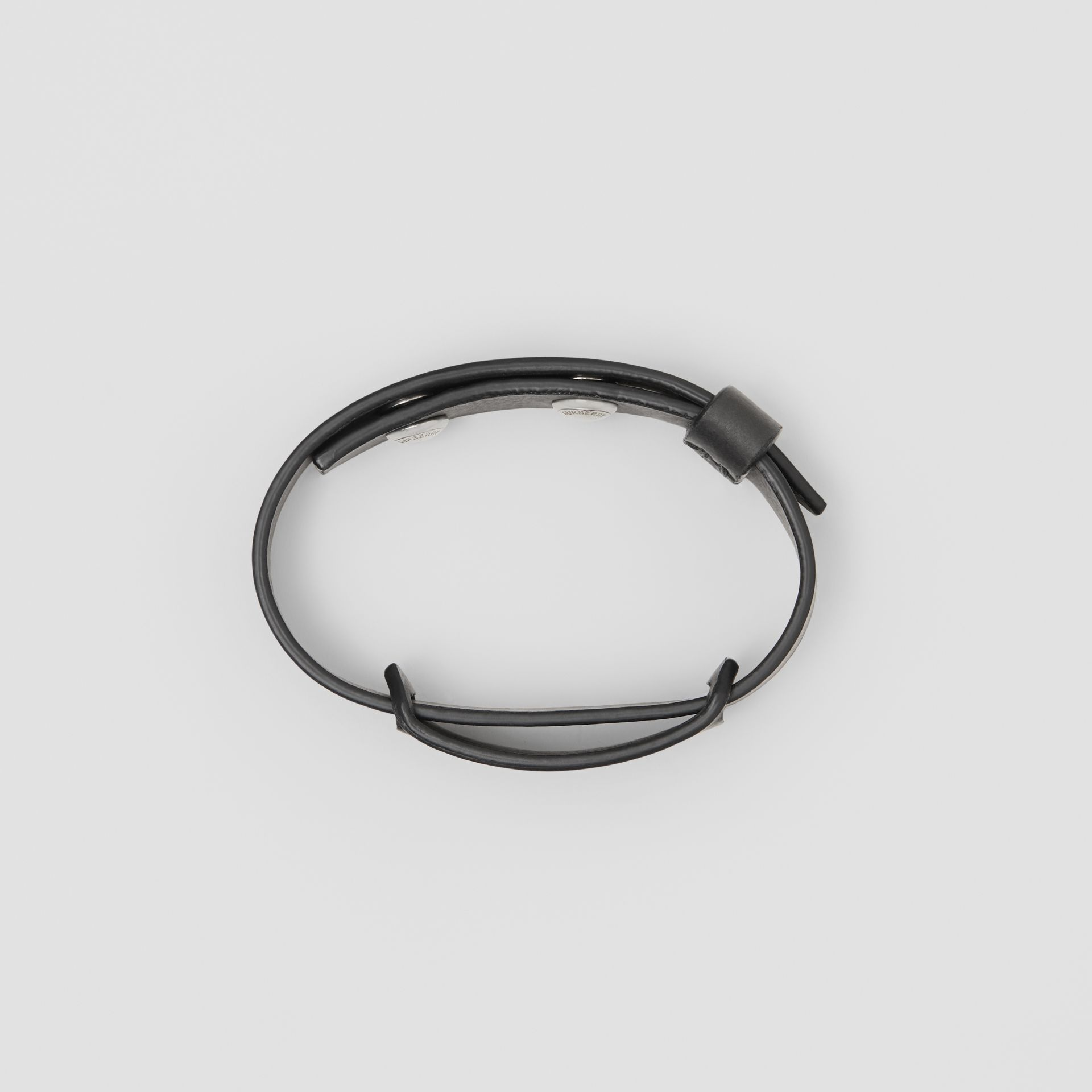 Logo Print Leather Bracelet in Black - Men | Burberry - gallery image 2