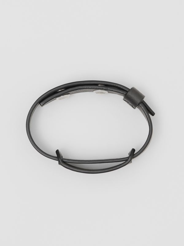 Logo Print Leather Bracelet in Black - Men | Burberry - cell image 2