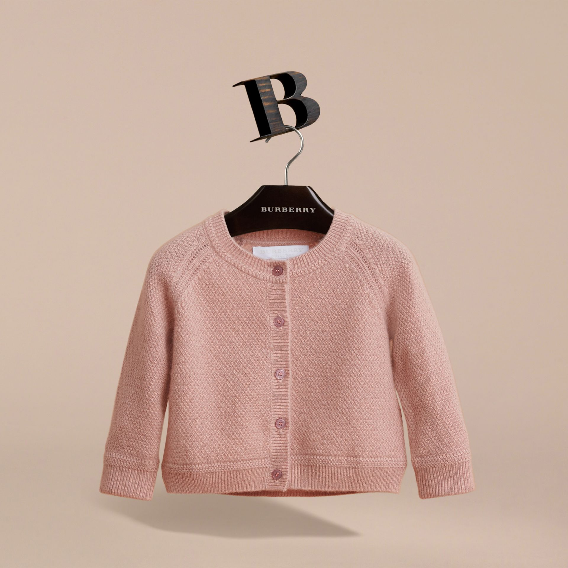 Textured Knit Cashmere Cardigan in Dusty Pink | Burberry Hong Kong - gallery image 3