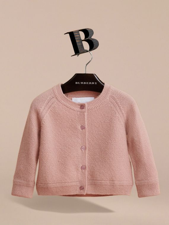 Textured Knit Cashmere Cardigan in Dusty Pink | Burberry Australia - cell image 2