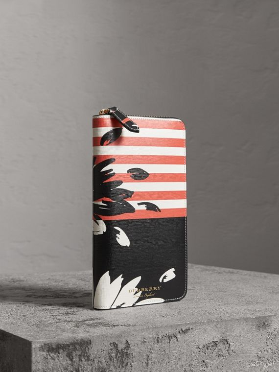 Floral Stripe Print Leather Ziparound Wallet in Patchwork