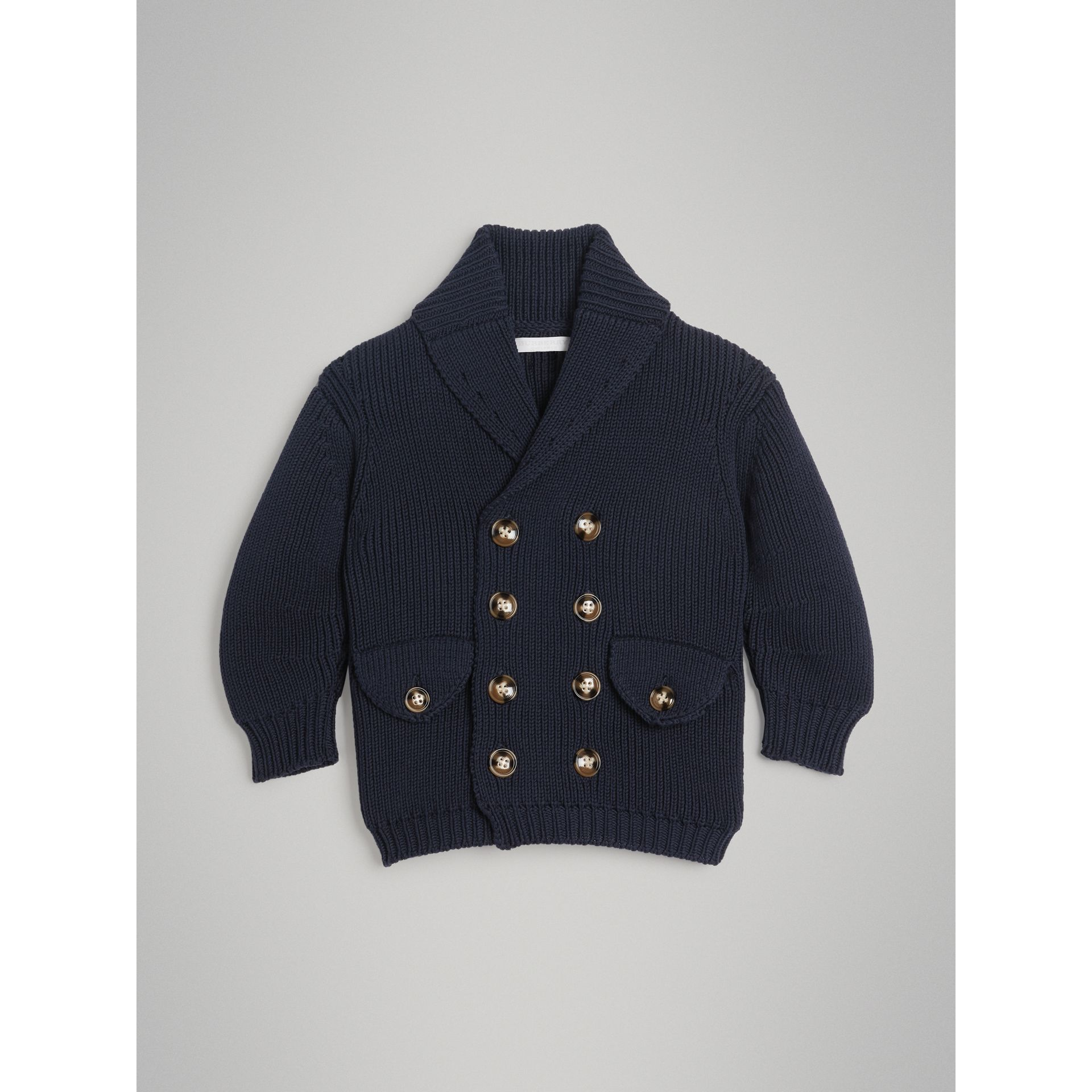 Cotton Knit Pea Coat Cardigan in Navy - Boy | Burberry - gallery image 0