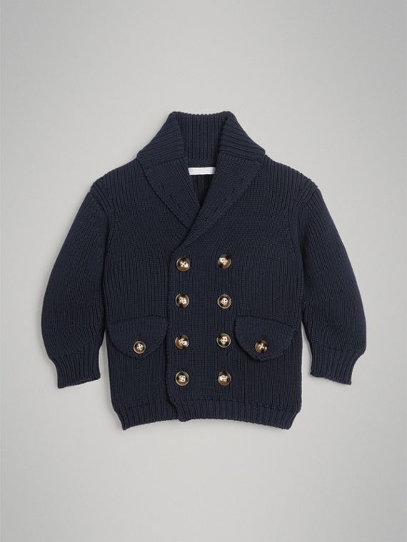 Cotton Knit Pea Coat Cardigan in Navy