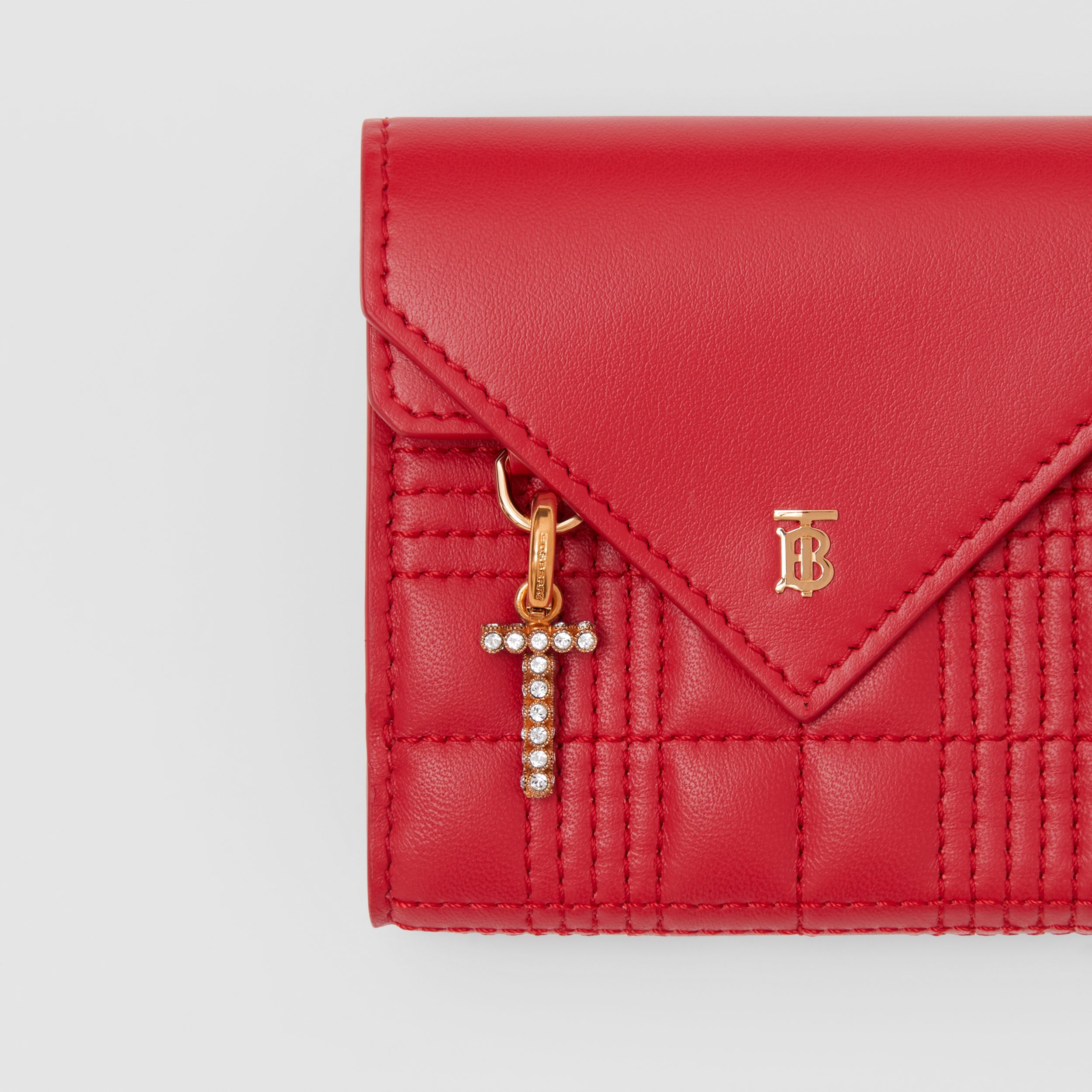 Quilted Lambskin Folding Wallet in Bright Red - Women | Burberry - 2