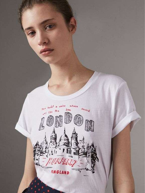 London Icons Print Cotton T-shirt in White - Women | Burberry - cell image 1