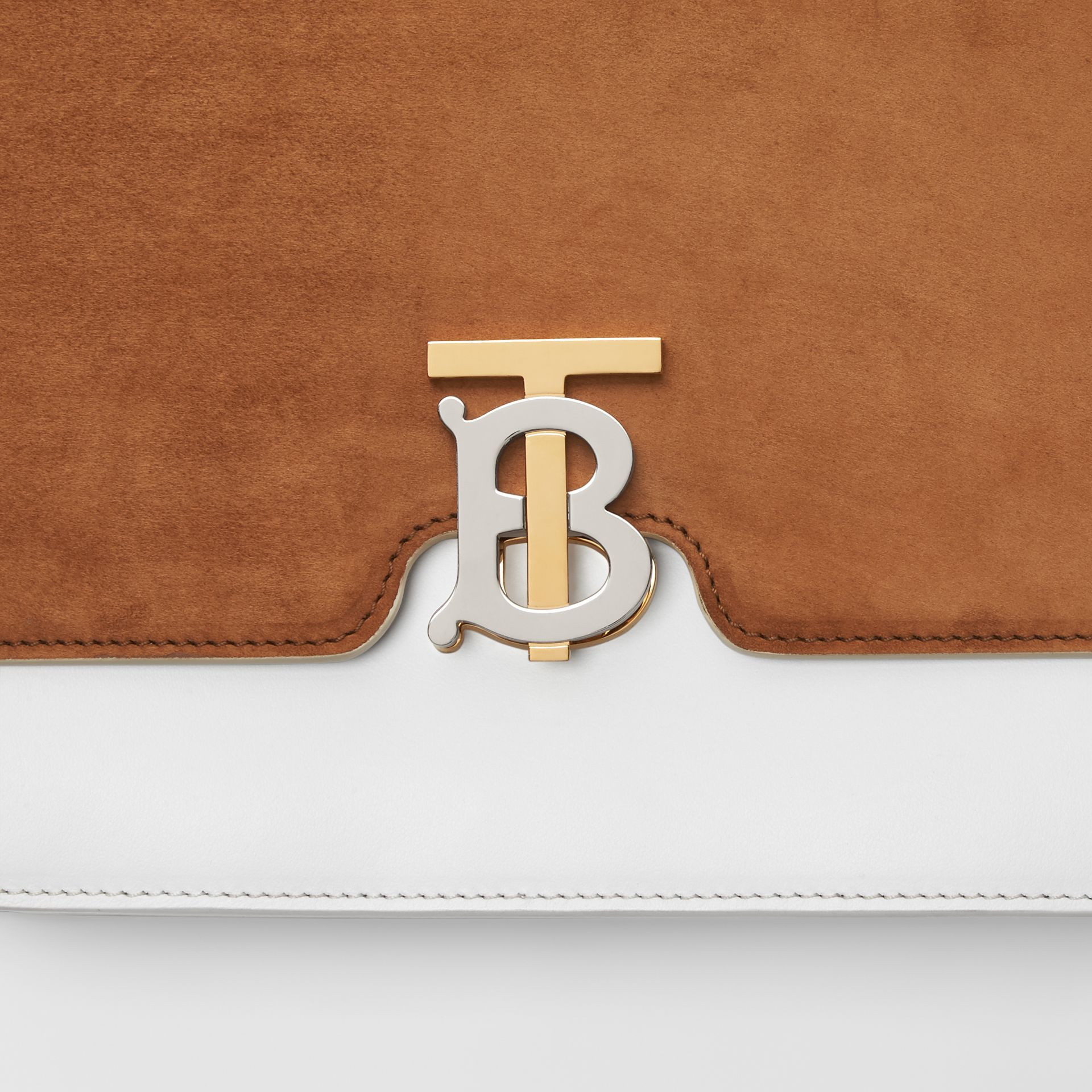Medium Two-tone Leather and Suede TB Bag in White/brown - Women | Burberry - gallery image 1