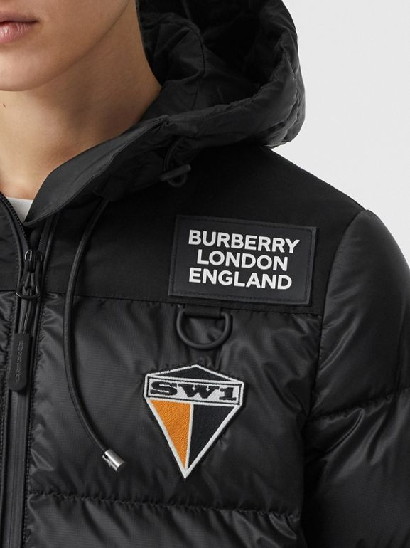 Logo Graphic Hooded Puffer Jacket in Black - Women | Burberry - cell image 1