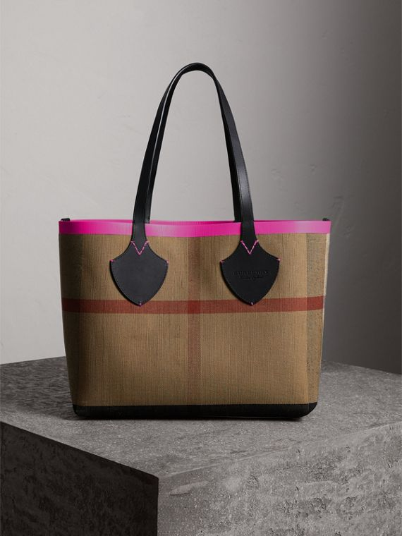 The Medium Giant Reversible Tote in Canvas and Leather in Black/neon Pink