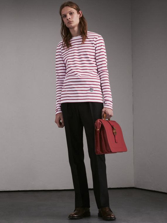 Unisex Pallas Heads Motif Breton Stripe Cotton Top - Women | Burberry - cell image 2