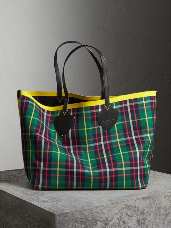 Borsa tote The Giant double face in cotone con motivo tartan (Verde Foresta/navy Oltremare)