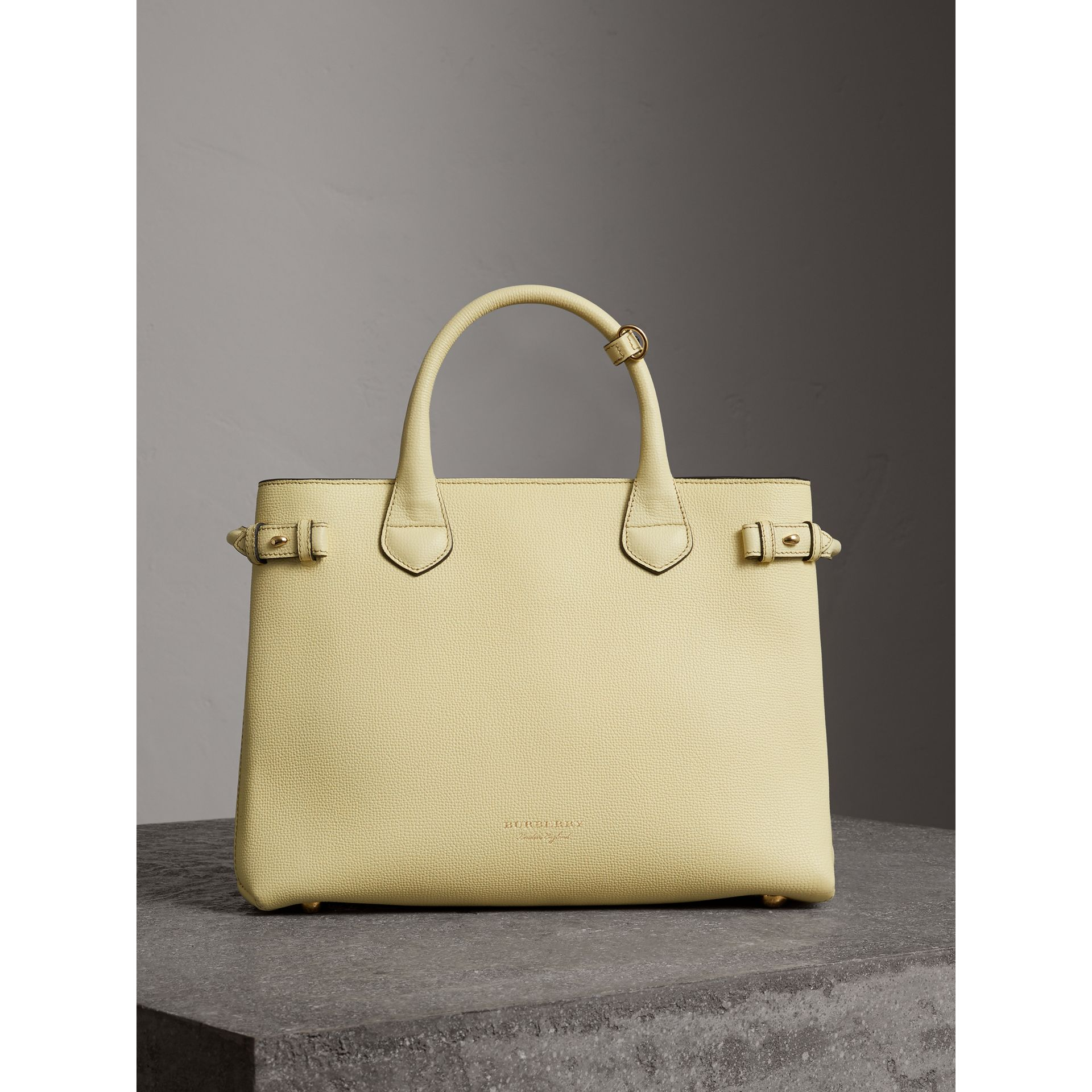 The Medium Banner in Leather and House Check in Camomile Yellow - Women | Burberry - gallery image 7