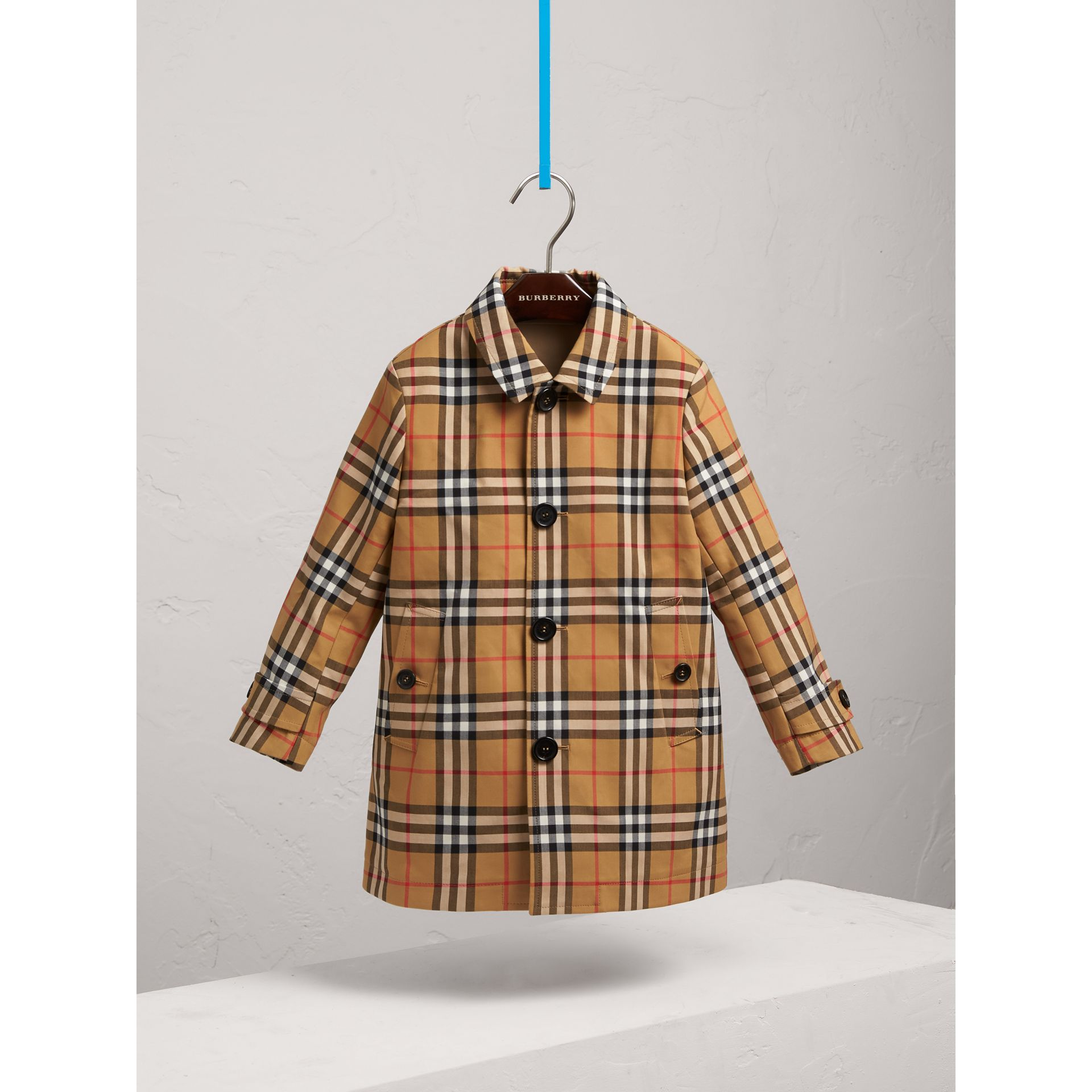 Vintage Check Cotton Car Coat in Antique Yellow - Boy | Burberry - gallery image 0