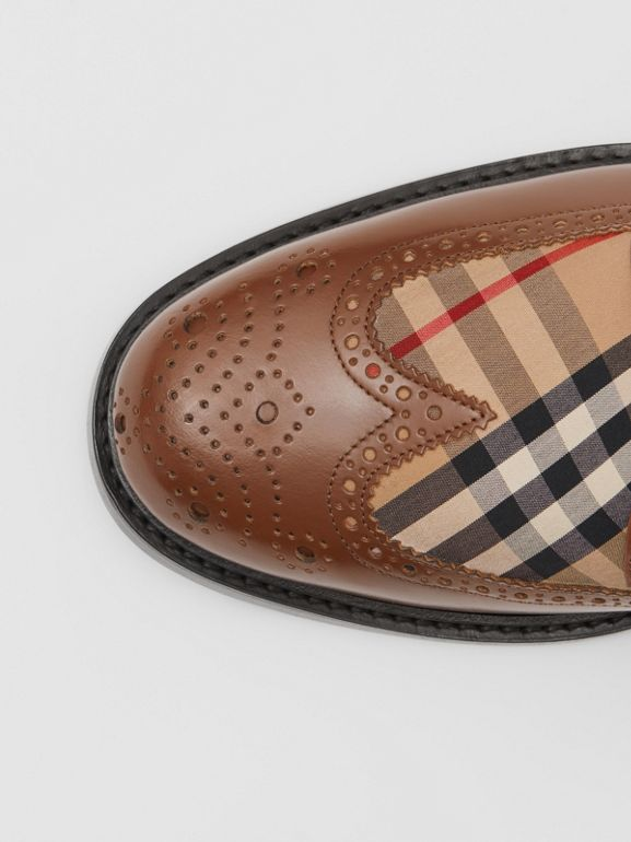 Brogue Detail Leather and Vintage Check Derby Shoes in Tan/archive Beige - Men | Burberry United Kingdom - cell image 1