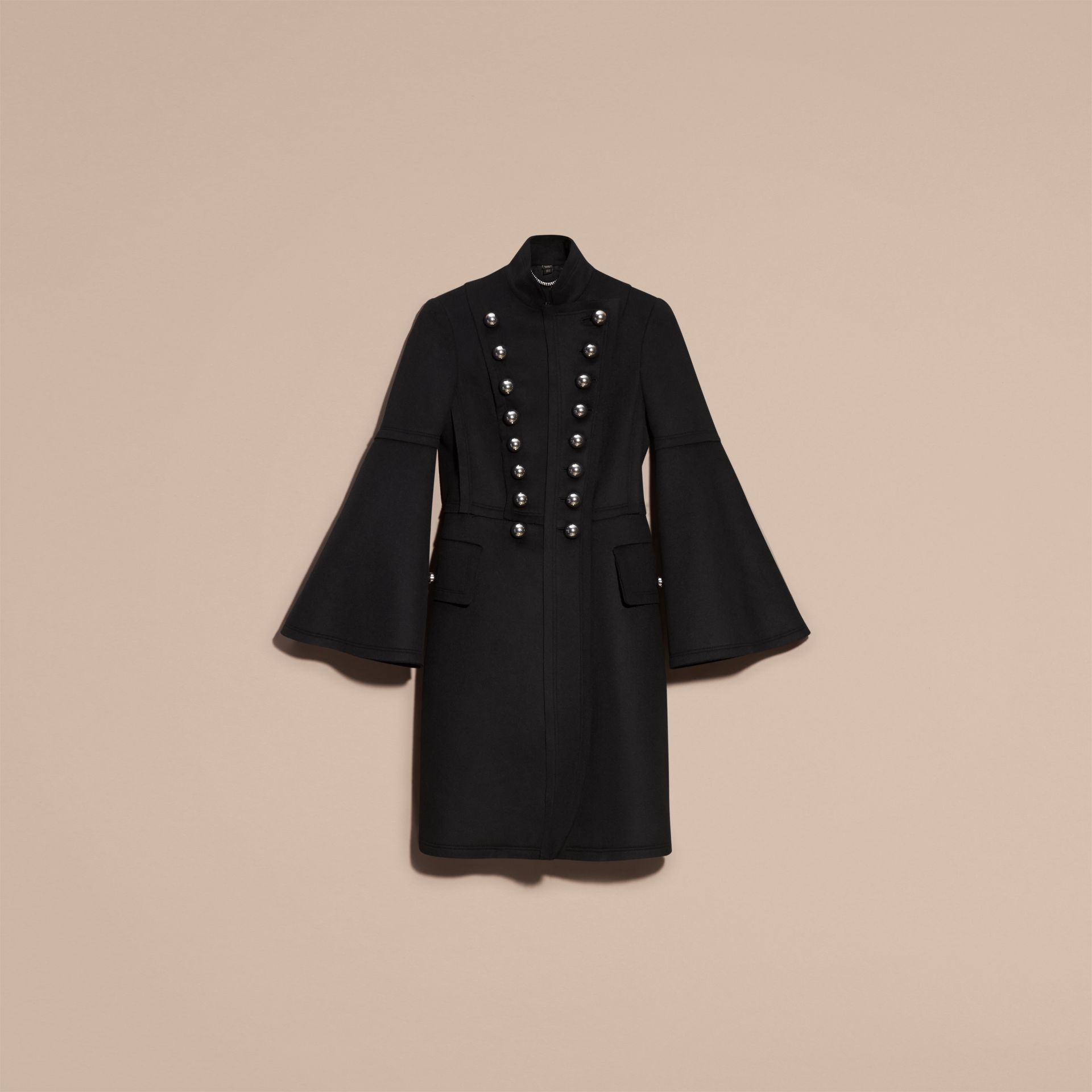 Black Bell-sleeved Wool Military Coat - gallery image 4