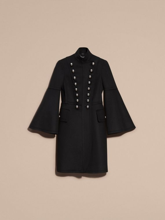 Black Bell-sleeved Wool Military Coat - cell image 3