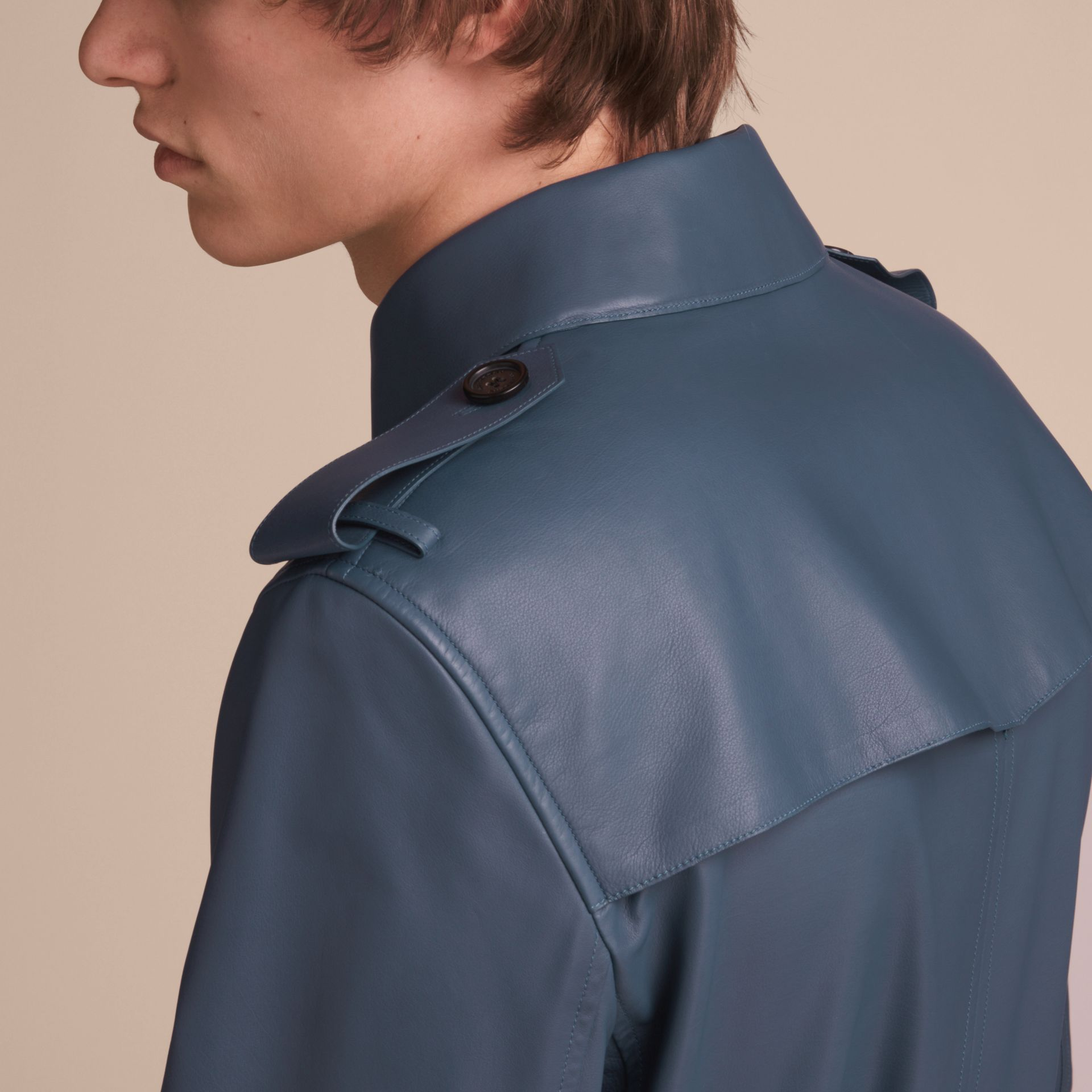 Short Leather Trench Coat - gallery image 6
