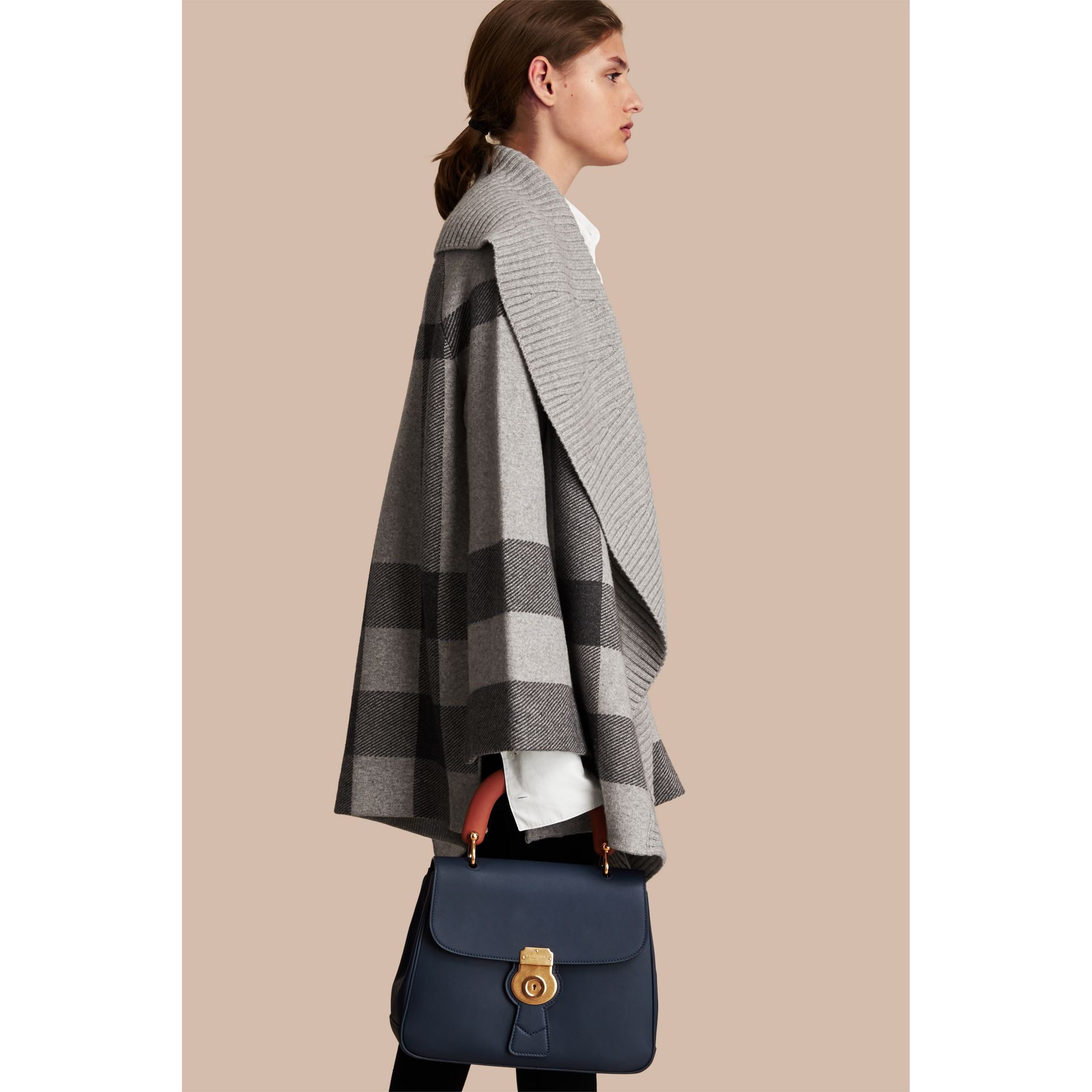 Check Wool Cashmere Blend Cardigan Coat in Pale Grey Melange - Women | Burberry Singapore - gallery image 3