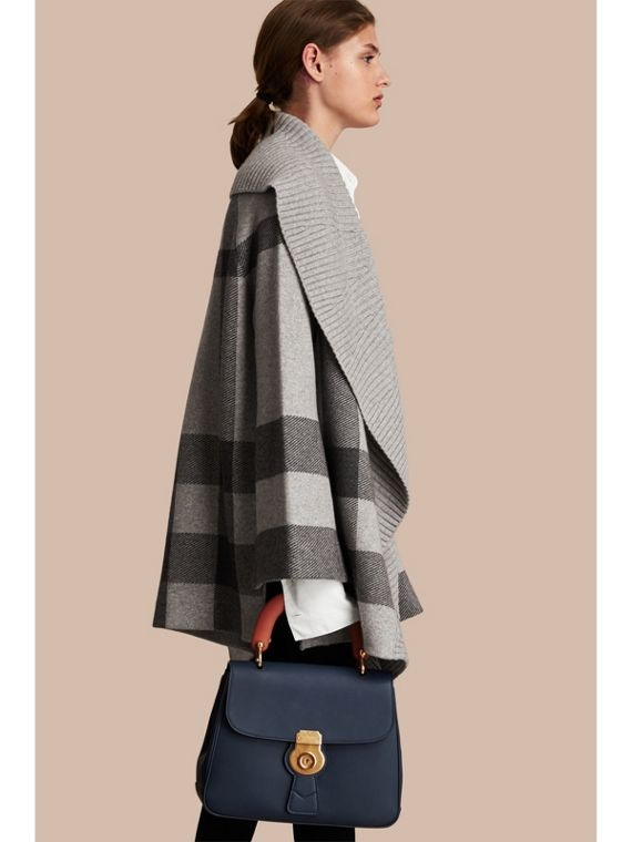 Check Wool Cashmere Blend Cardigan Coat in Pale Grey Melange - Women | Burberry - cell image 2