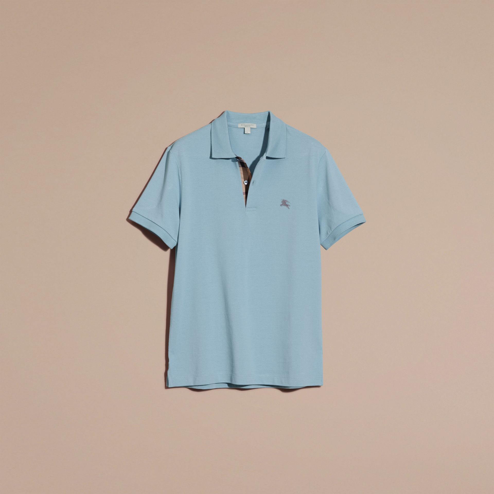 Check Placket Cotton Piqué Polo Shirt Pale Blue - gallery image 4