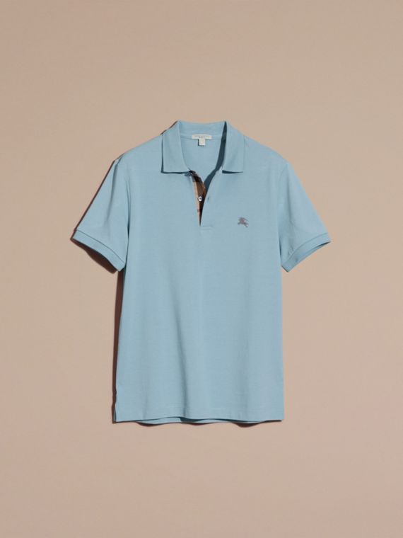 Check Placket Cotton Piqué Polo Shirt in Pale Blue - cell image 3