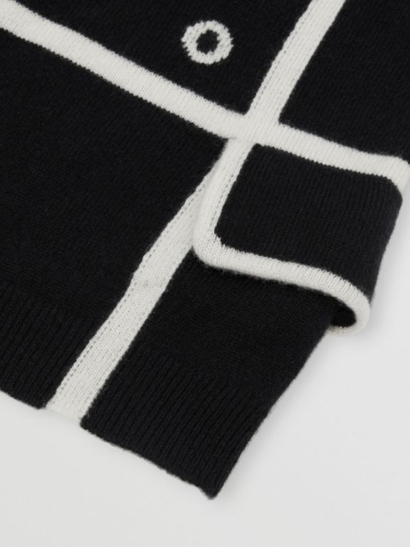 Trompe L'Oeil Intarsia Cashmere Sweater in Black | Burberry - cell image 1