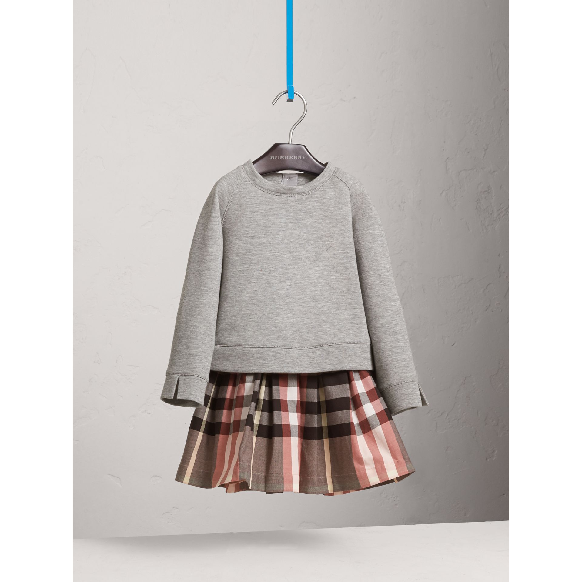 Contrast Check Sweater Dress in Dusty Pink - Girl | Burberry - gallery image 3