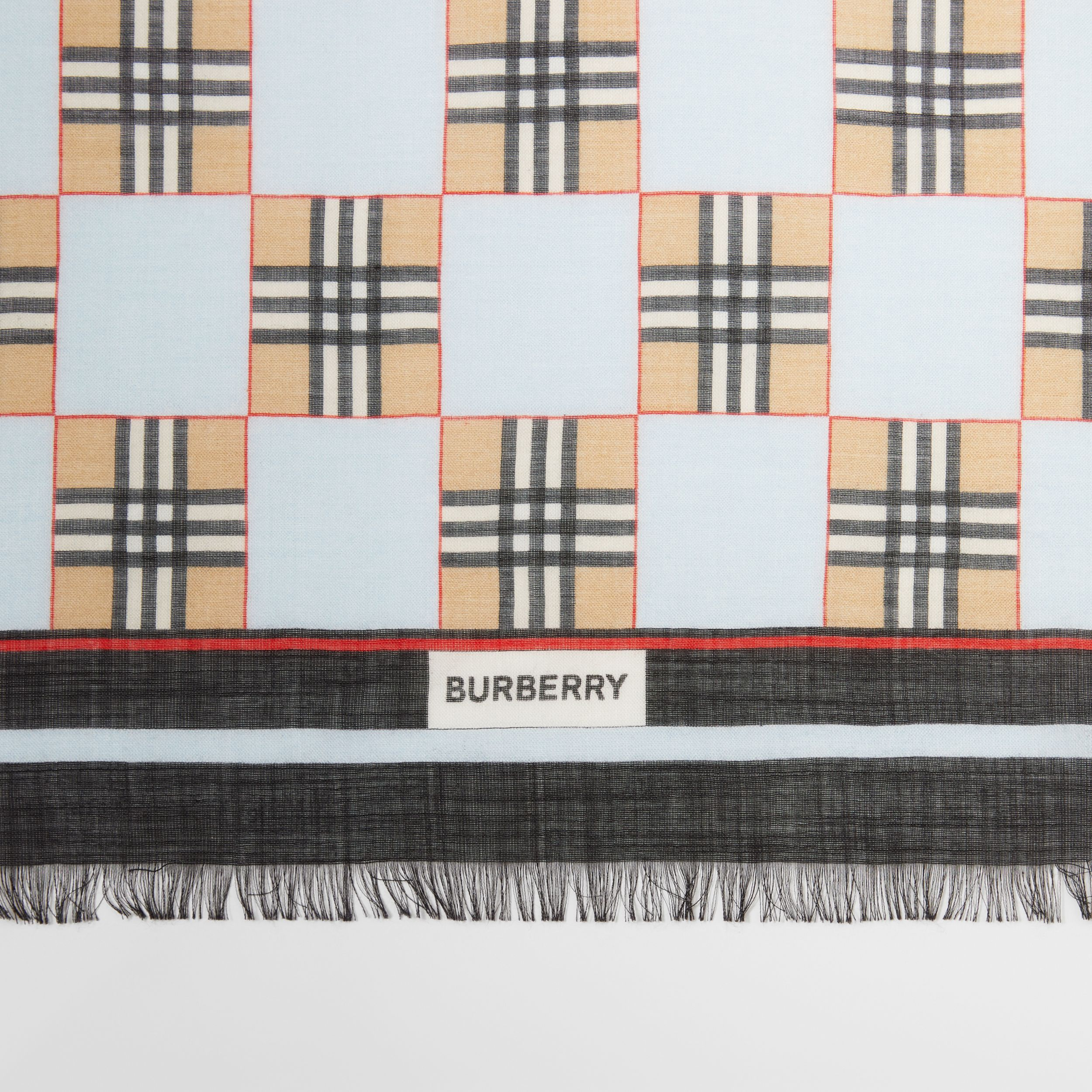 Chequer Print Wool Silk Scarf in Pale Blue | Burberry Australia - 2