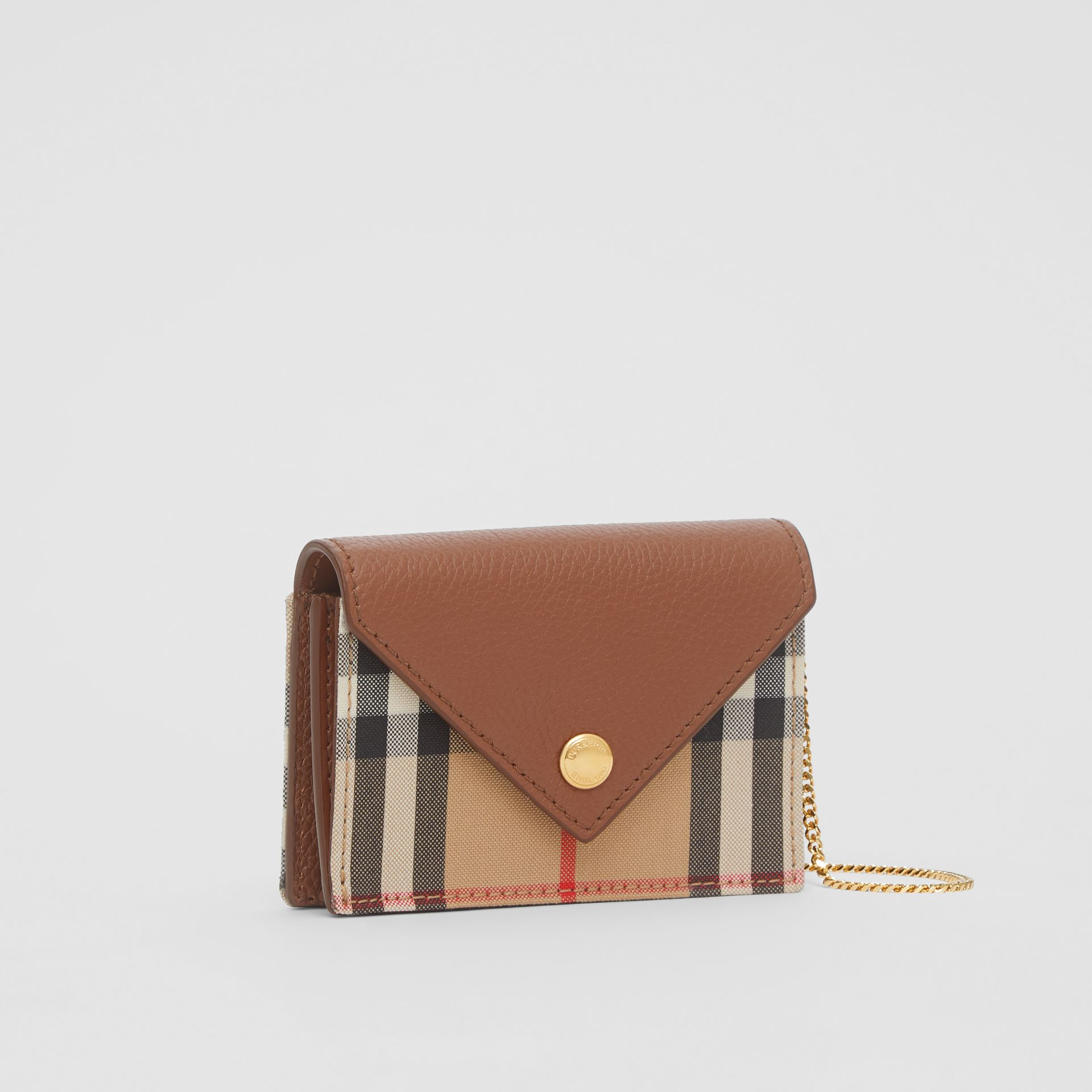 Vintage Check and Leather Card Case with Strap in Tan - Women | Burberry - gallery image 2